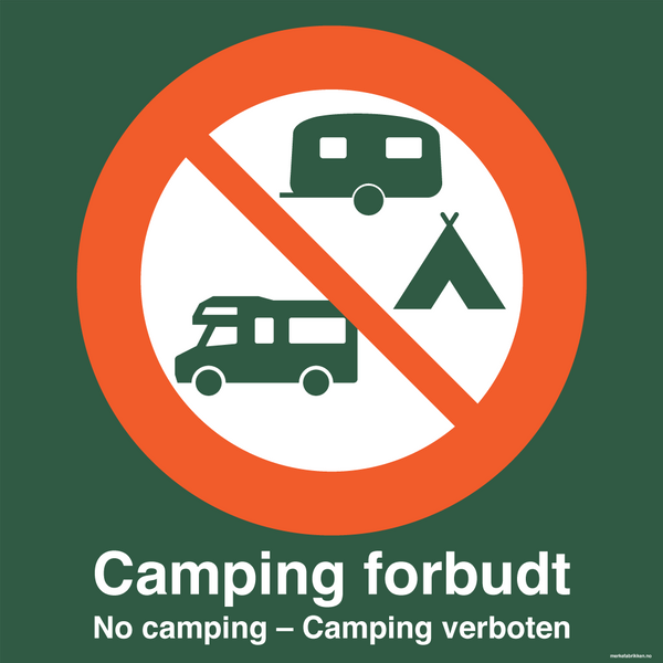 Camping forbudt - skilt med symbol og tekst, grønt