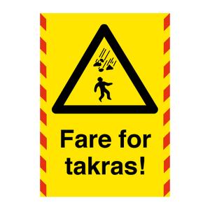 Bilde av Fare for takras - Varselskilt med symbol og tekst