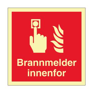 Bilde av Brannmelder innenfor - brannskilt med symbol og tekst