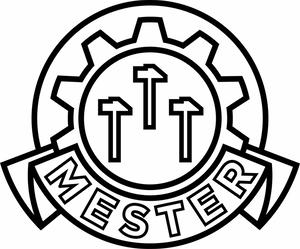 Bilde av Mestermerke - Klistremerke med symbol og tekst i sort