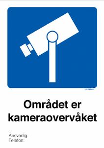 Bilde av Kameraovervåket område skilt med symbol og tekst 420 × 594 mm