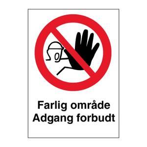 Bilde av Farlig område adgang forbudt - Forbudsskilt med symbol og tekst
