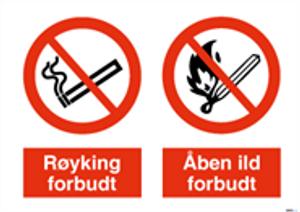 Bilde av Røyking og åpen ild forbudt  - Forbudsskilt med symbol og tekst