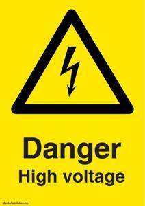 Bilde av Danger High Voltage - Fareskilt med symbol og tekst
