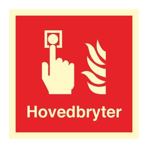 Bilde av Hovedbryter - brannskilt med symbol og tekst