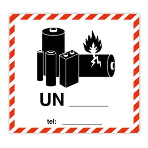 Bilde av Merke for Litiumbatterier -250 stk etiketter 110 X 120
