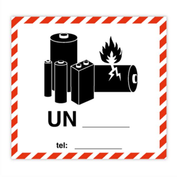 Merke for Litiumbatterier -250 stk etiketter 110 X 120