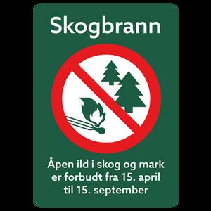 Bilde av Skogbrannfare - skilt med symbol og tekst