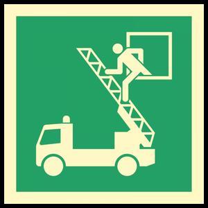 Bilde av Nødutgangsskilt - Rømningsvei - vindu til brannbil/stigebil
