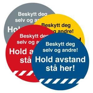 Bilde av Hold avstand Gulvskilt Ø330mm - Stå Her