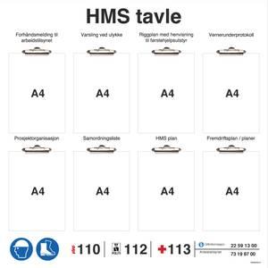 Bilde av HMS tavle i PVC med klyper for entreprenører