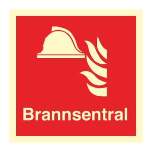 Bilde av Brannsentral - brannskilt med symbol og tekst
