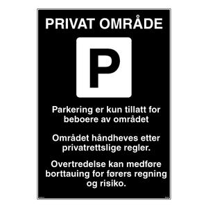 Bilde av Parkeringsskilt for private parkeringsplasser og områder