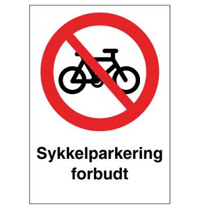 Bilde av Sykkelparkering forbudt - Forbudsskilt med symbol og tekst