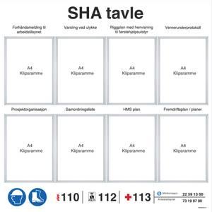 Bilde av SHA tavle i aluminium med 8 rammer for entreprenører