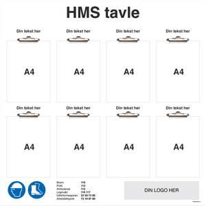 Bilde av HMS tavle i aluminium med klyper og logo