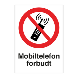 Bilde av Mobiltelefon forbudt - Forbudsskilt med symbol og tekst