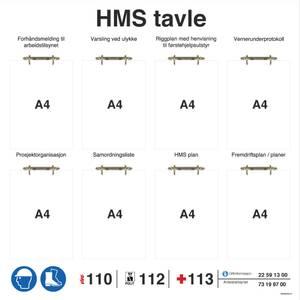 Bilde av HMS tavle i aluminium med ringpermholdere