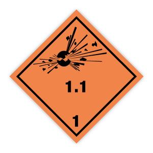Bilde av Fareseddel klasse 1.1 Eksplosive stoffer og gjenstander