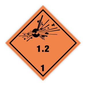 Bilde av Fareseddel klasse 1.2 Eksplosive stoffer og gjenstander