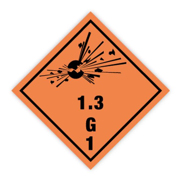 Fareseddel klasse 1.3 Eksplosive stoffer og gjenstander