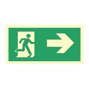Bilde av Nødutgangsskilt med pil til høyre for merking av rømningsvei