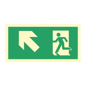 Bilde av Nødutgangsskilt for rømningsvei med pil venstre opp