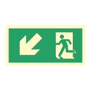 Bilde av Nødutgangsskilt for rømningsvei med pil venstre ned