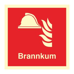 Bilde av Brannkum - brannskilt med symbol og tekst