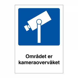 Bilde av Området er kameraovervåket skilt med symbol og tekst