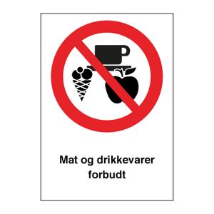 Bilde av Mat og drikkevarer forbudt - Forbudsskilt med symbol og tekst