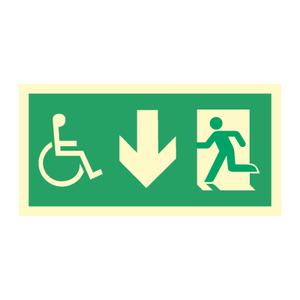 Bilde av Nødutgangsskilt - Handicap pil ned