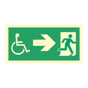 Bilde av Nødutgangsskilt - Handicap pil høyre