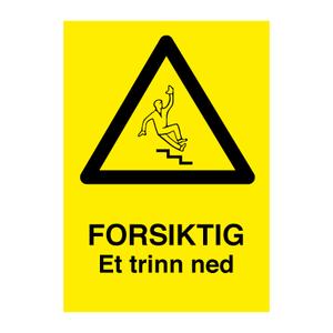 Bilde av Forsiktig et trinn ned - Fareskilt med symbol og tekst