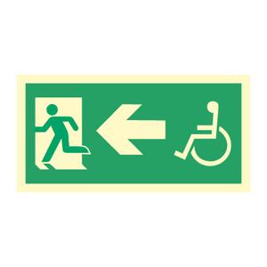 Bilde av Nødutgangsskilt - Handicap pil venstre