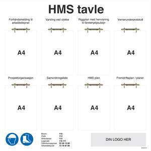 Bilde av HMS tavle i aluminium med ringpermholdere og logo