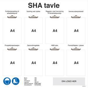 Bilde av SHA tavle i aluminium med klyper og firma logo for entreprenører