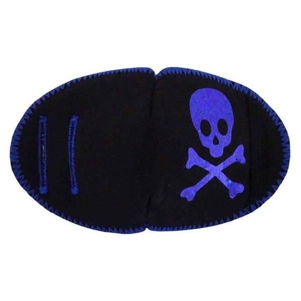 Tøylapp til brille Pirat skalle - Blå glitter