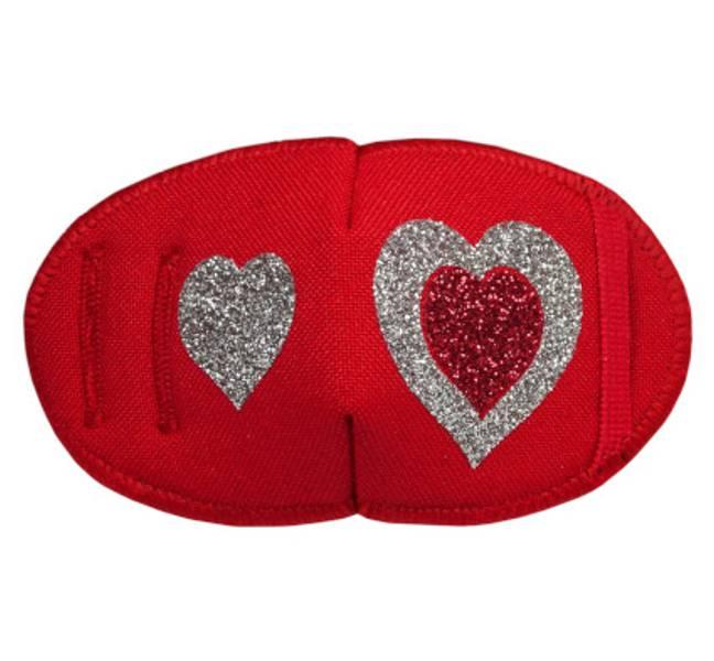 Tøylapp til brille Rød glitter hjerte