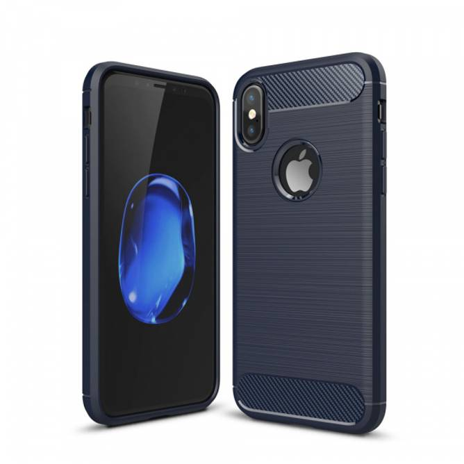 Bilde av Carbon Fiber Case - iPhone X - Blå