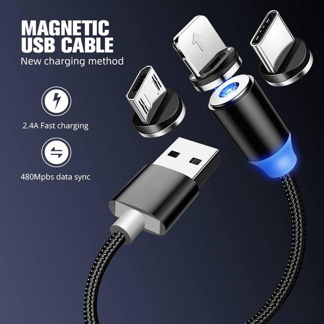 Bilde av Magnetisk Micro USB lader - 1M Blå