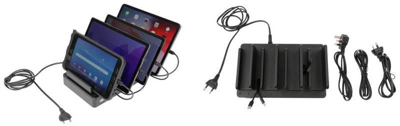 Bilde av Brodit bordstativ med laddstation for fire enheter. USB type-C