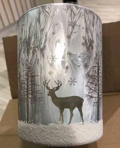 Bilde av Lysglass med skogsmotiv gull/grå