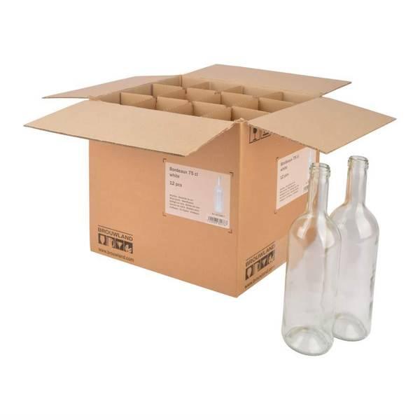 Eske med 12stk 75cl vinflasker, klar