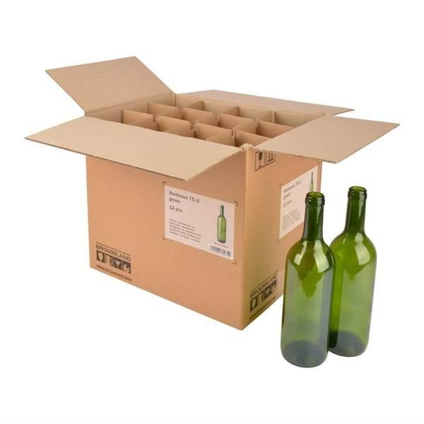 Eske med 12stk 75cl vinflasker, grønne