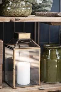 Bilde av Lanterne glass/gull metall