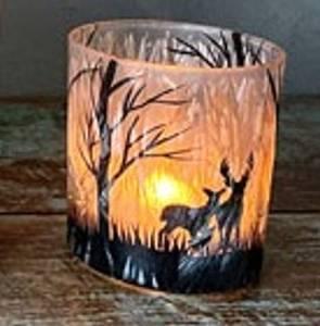 Bilde av Lysglass frostet hjort small