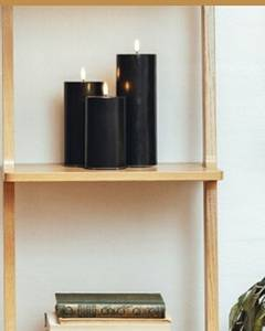 Bilde av Sort led-kubbelys 5x20 cm
