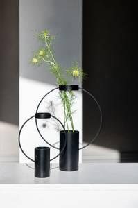 Bilde av Sort vase rund metall small