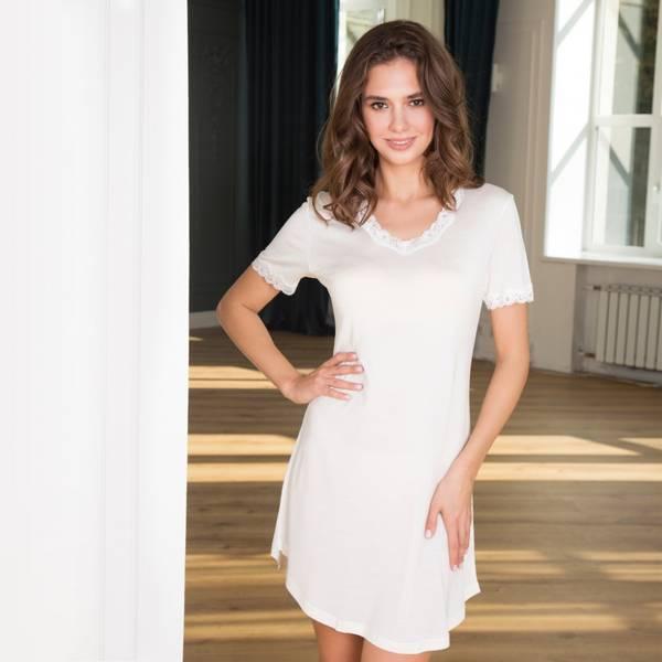 Bilde av Lady Avenue Nightgown W/Sleeve Off-White